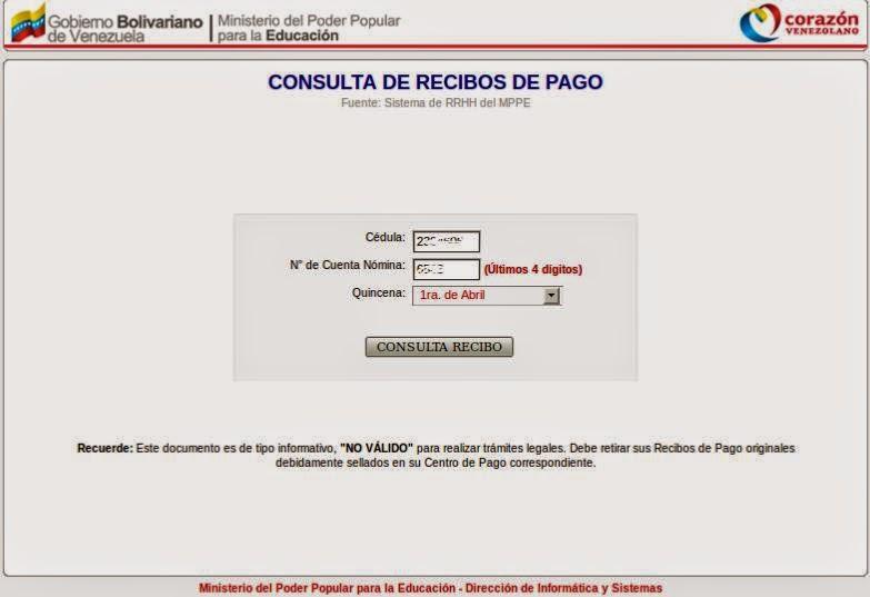 Plataforma de Recibo de Pago MPPE